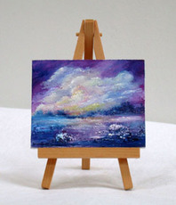 Artist: Valda Fitzpatrick, Artwork Title: Sunset, Miniature Oil Pai, 2015-06-29. Painting Oil, Impressionism, $21