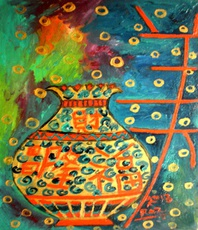 Artist: Rizwana A Mundewadi, Artwork Title: The Lucky Pot, 2015-04-17. Painting Acrylic, Healing, $525