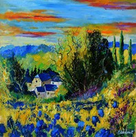Artist: Pol Ledent, Artwork Title: Village In Summer , 2015-02-27. Painting Oil, Abstract, $788
