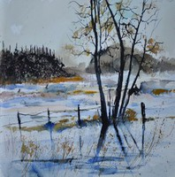 Artist: Pol Ledent, Artwork Title: Watercolor 412172, 2014-12-28. Watercolor, Landscape, $262