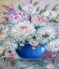 Artist: Valda Fitzpatrick, Artwork Title: White Chrysanthemums In B, 2016-02-05. Painting Oil, Floral, $499
