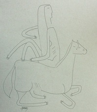 Artist: Shawn Seward, Artwork Title: Woman And Horse, 2016-02-12. Drawing Pen, Figurative, $315