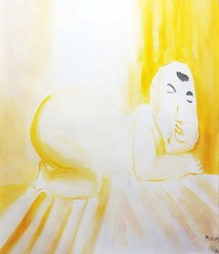 Artist: Mert Ulcay, Artwork Title: Yellow Buddha, 2015-04-26. Painting Oil, World Culture, $3,150