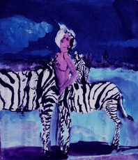 Artist: Harry Weisburd, Artwork Title: Zebra Woman , 2015-05-28. Watercolor, Figurative, $415