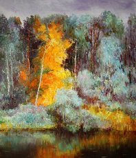 Artist: Vladimir Volosov, Artwork Title: Autumn Forest, 2018-09-20. Painting Oil, Landscape, $945