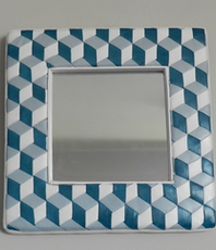 Artist: Evelyne Parguel, Artwork Title: Checkered Mirror Trompe L, 2016-02-08. Leather, Home, Not For Sale