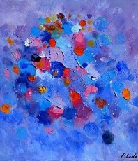 Artist: Pol Ledent, Artwork Title: Happy Planets, 2018-09-14. Painting Oil, Abstract Figurative, $630
