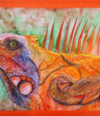 Artist: Sergey Zubarev, Artwork Title: Iguana, 2016-02-05. Watercolor, Animals, $210