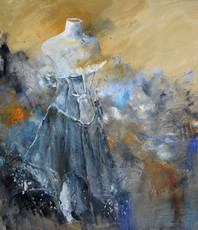 Artist: Pol Ledent, Artwork Title: Waiting For The Lady, 2015-09-04. Painting Oil, Figurative, $945