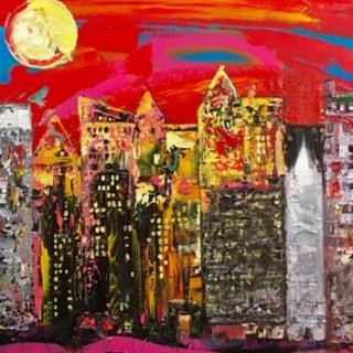 Christie Chew-Wallace, City Scene, Abstract Landscape, $ 578