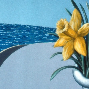 Austen Pinkerton, Daffodils Table And Sea, Landscape,  Request Price