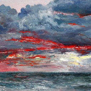Vladimir Volosov, Evening On The Ocean, Marine, $1,260