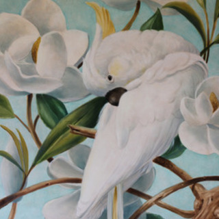 Marsha Bowers, Parrot With Magnolias, Birds, $892