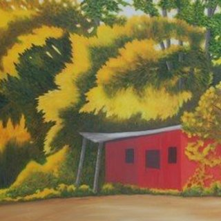 Lora Vannoord, Red Shed, Abstract Landscape, $ 368