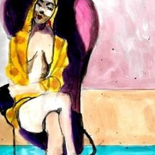 Harry Weisburd, Woman In Violet Chair, Figurative, $ 368