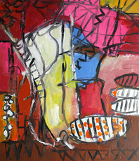 Engelina Zandstra, Composition 4172, Abstract Figurative, $ 1,260