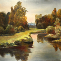 Vladimir Volosov, Near The Lake, Landscape, $ 2,310