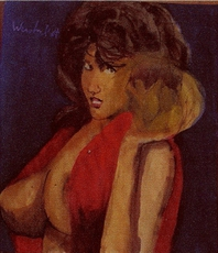 Harry Weisburd, Woman With Lotus Flower, Figurative, $ 315