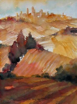 Alessandro Andreuccetti Artwork Fields of San Gimignano, 2003 Watercolor, Landscape