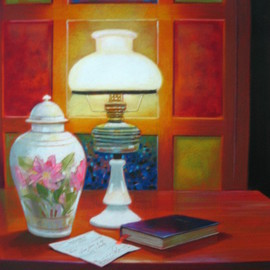 Fidel Sarmiento: 'LIHAM', 2006 Acrylic Painting, Still Life. Artist Description: A still life with love letter on top of the table with lighted old lamp...