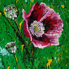 Aarron Laidig: 'Opium Gum', 2015 Acrylic Painting, Floral. Artist Description:  Impression of the poppy and opium gum. Papaver somniferum, The