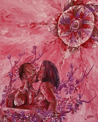 Aarron Laidig: 'cherry blossom moon', 2019 Acrylic Painting, Romance. Artist Description: Cherry Blossom Moon is a 16  wide x 20  high painting on stretched canvas depicting love and romance in an erotic manner. The canvas is 5 8 in depth. Sides are painted.  ...