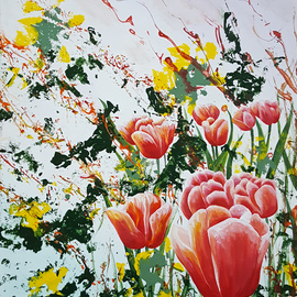 Aarron Laidig: 'edge of a tulip garden', 2017 Acrylic Painting, Floral. Artist Description: Edge Of A tulip Garden by Aarron Laidig. Expressive floral painting on canvas. ...