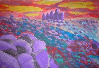 Alexander Hinovsi: 'visions', 2019 Acrylic Painting, Psychedelic. Artwork is draw with acrylic paint.  In symbolic and surreal stile.  This landscape is inspirat by Bulgarian Rila mountain. ...