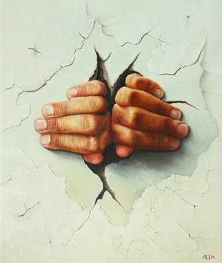 Abed Alem: 'Freedom ', 2011 Oil Painting, Surrealism. Artist Description:  Freedom oil on canvas abed alem hands my hands ...