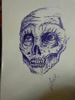 Abin Babu: 'zombie', 2018 Pen Drawing, Obsessive. Artist Description: Pen drawing, curly style...