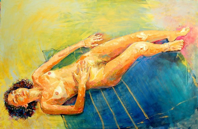 Lawrence Buttigieg  'Nude Lying Down On Yellow And Blue Background', created in 2007, Original Watercolor.