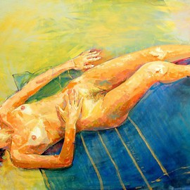 Lawrence Buttigieg: 'Nude lying down on yellow and blue background', 2007 Oil Painting, Nudes.