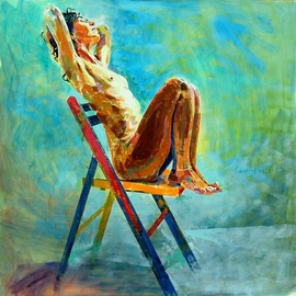 Lawrence Buttigieg: 'Nude on chair', 2007 Oil Painting, Nudes.