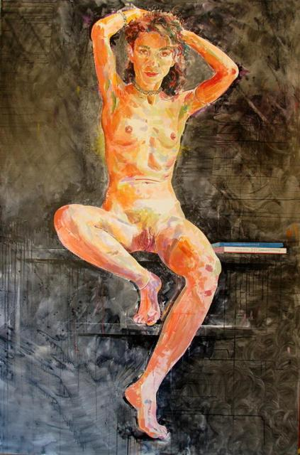 Lawrence Buttigieg  'Nude With Books', created in 2008, Original Watercolor.
