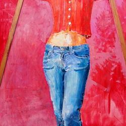 , Girl Against A Red Backgr, Portrait, $3,150