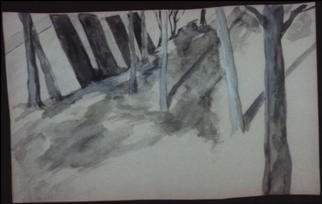 Artist: Stephanie Hayden - Title: Brandeis in Winter - Medium: Watercolor - Year: 2002