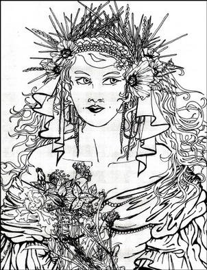 Stephanie Hayden: 'Marriage of Persephone', 1994 Pen Drawing, Mythology.