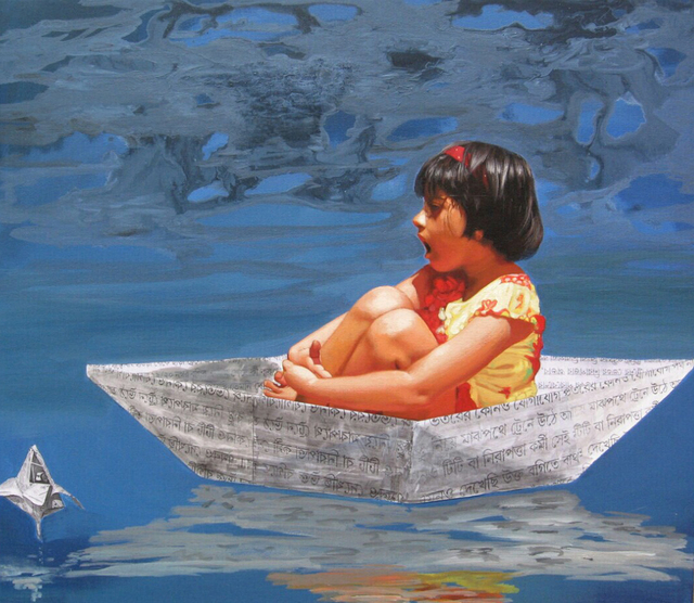 Nabendu Roy  'Imagination Of Little Girl 10', created in 2020, Original Painting Acrylic.