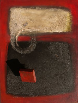 Chi Harkrader: 'red onyx i', 2015 Mixed Media, Abstract Landscape. Rothko on Steroids.  Mixed, Coal, Pumice,Wood, Brass, Copper, Plastic ...