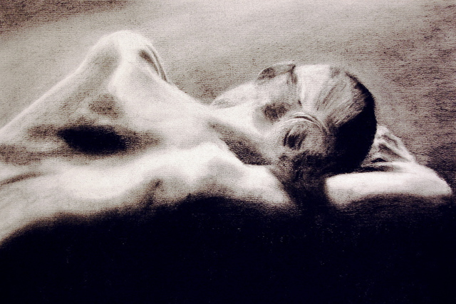 Artie Abello  'Doleful', created in 2007, Original Drawing Charcoal.