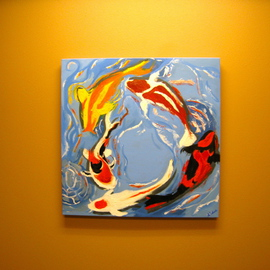 Artie Abello: 'Koi', 2009 Oil Painting, Fish.