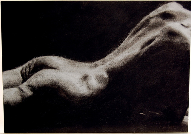 Artie Abello  'Lying', created in 2008, Original Drawing Charcoal.