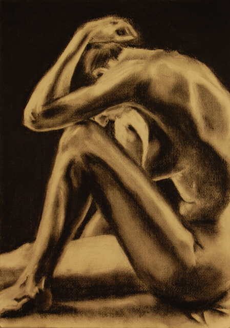 Artie Abello  'Overcome', created in 2009, Original Drawing Charcoal.