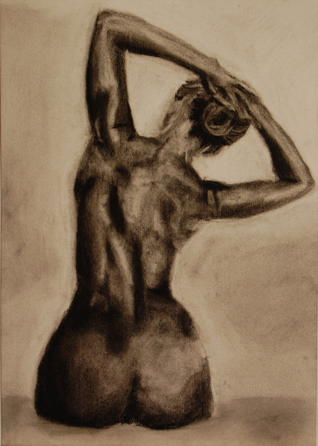 Artie Abello  'Stretch', created in 2008, Original Drawing Charcoal.