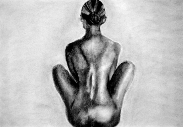Artist Artie Abello. 'Watching, Waiting' Artwork Image, Created in 2007, Original Drawing Charcoal. #art #artist