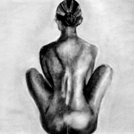 Artie Abello Artwork Watching, Waiting, 2007 Charcoal Drawing, Figurative