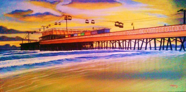 Tom Ackley  'Daytona Beach Boardwalk', created in 2010, Original Pastel.