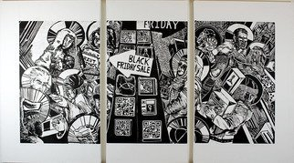 Amanda Coakley: 'black friday sabbath', 2017 Linoleum Cut, Christian.