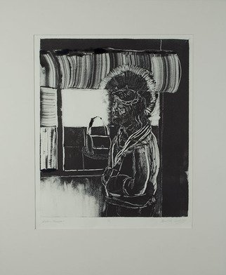 Amanda Coakley: 'window shopper', 2017 Monoprint, Christian.