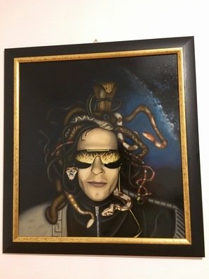 Brian Lecca: 'versace meduso', 2017 Oil Painting, Mythology. Artist Description: Versace Medusa oil painting on wood. ...